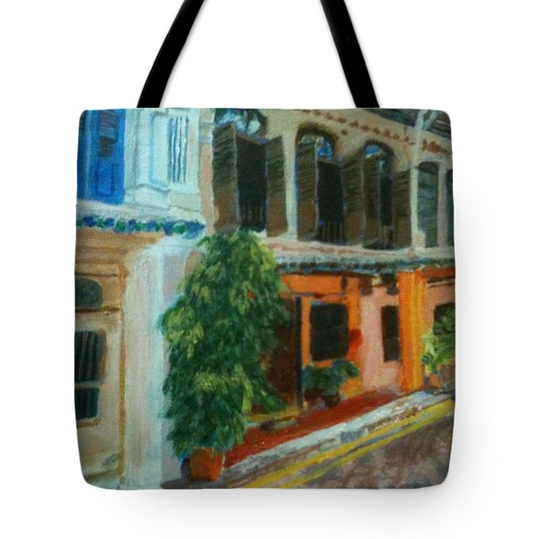 Tote Bag featuring the painting Peranakan House by Belinda Low