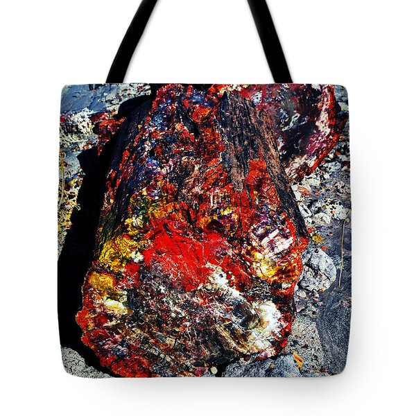 Petrified Wood Log Rainbow Crystalization At Petrified Forest National Park Tote Bag by Shawn O'Brien