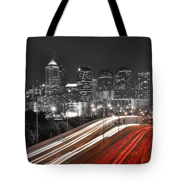 Philadelphia Skyline At Night Black And White Bw  Tote Bag