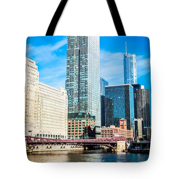 Picture Of Chicago River Skyline At Franklin Bridge Tote Bag by Paul Velgos