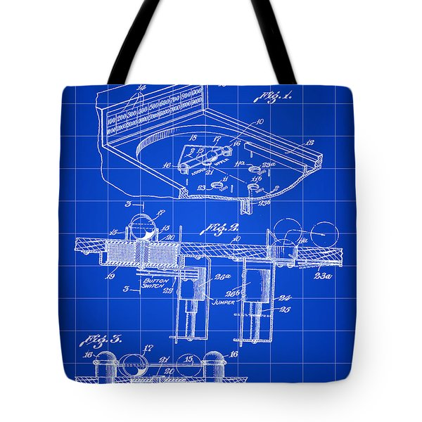 Pinball Machine Patent 1939 - Blue Tote Bag by Stephen Younts