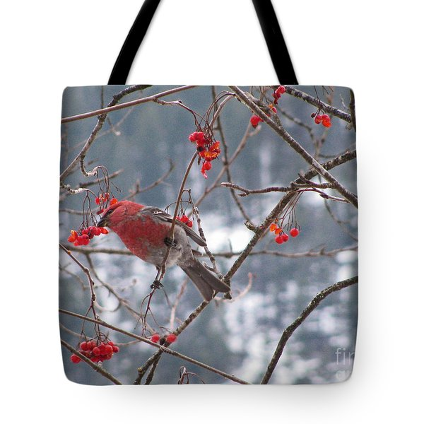 Pine Grosbeak And Mountain Ash Tote Bag