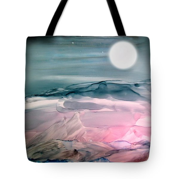 Pink Quartz Island Under The Moon Alcohol Inks Tote Bag