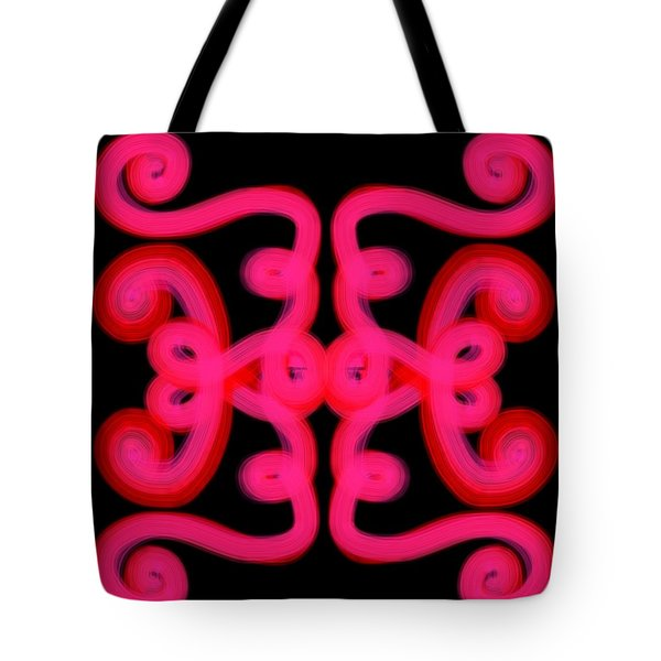 Tote Bag featuring the digital art Pink Scroll by Christine Fournier