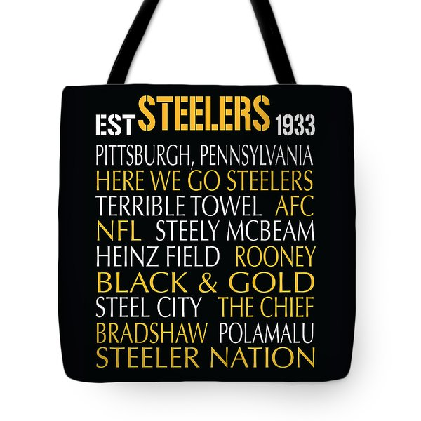 Tote Bag featuring the digital art Pittsburgh Steelers by Jaime Friedman