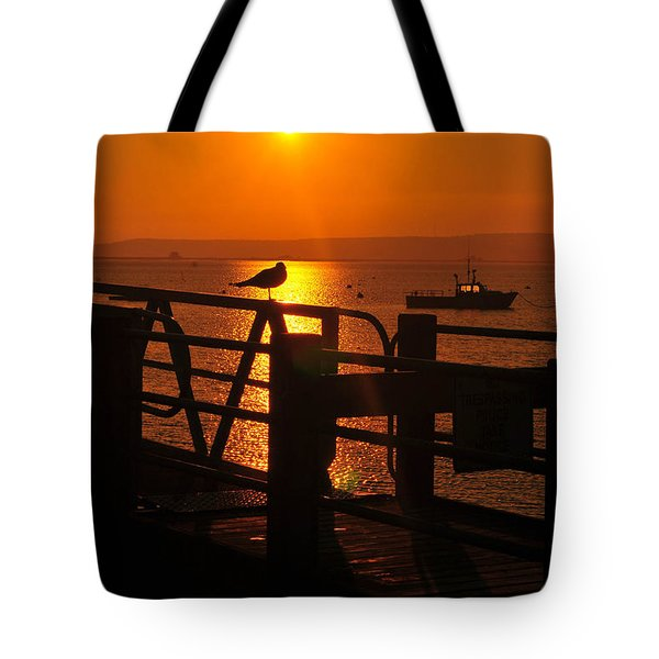 Plymouth Harbor Sunrise Tote Bag by Catherine Reusch  Daley