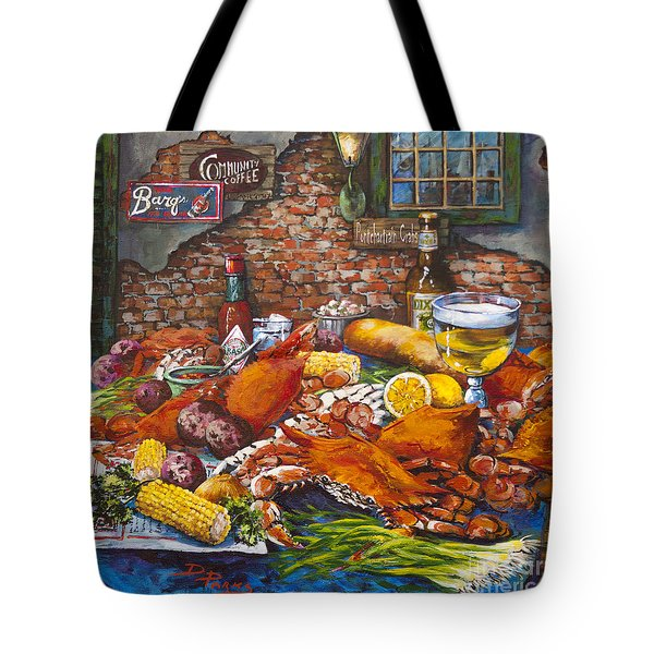 Tote Bag featuring the painting Pontchartrain Crabs by Dianne Parks