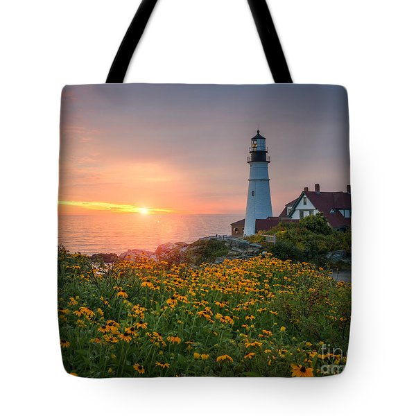 Portland Head Light Sunrise  Tote Bag