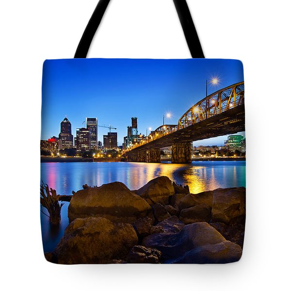 Tote Bag featuring the photograph Portland Oregon Skyline At Blue Hour by JPLDesigns