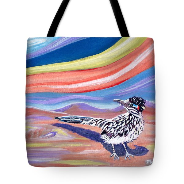 Tote Bag featuring the painting Posy 2 The Roadrunner by Phyllis Kaltenbach
