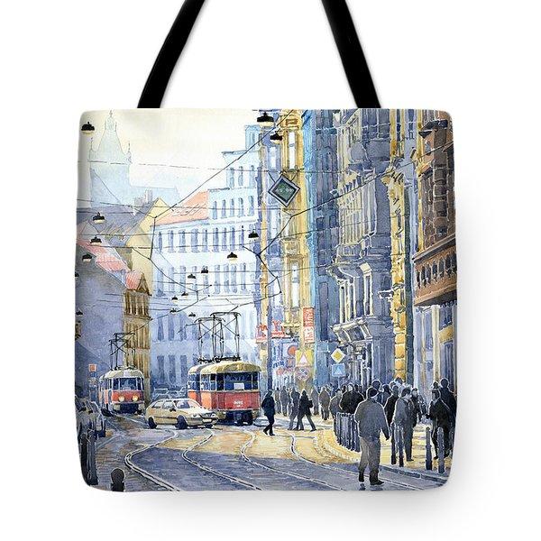 Prague Vodickova Str  Tote Bag by Yuriy  Shevchuk
