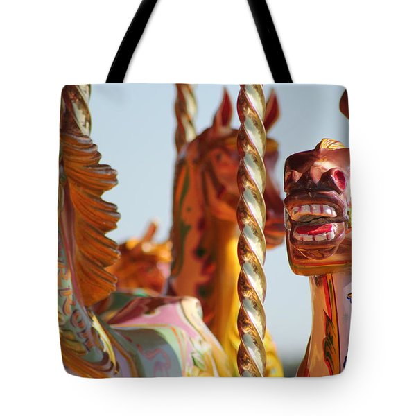 Pretty Carousel Horses Tote Bag