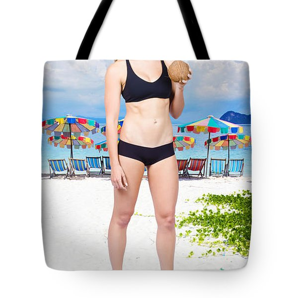 Pretty Woman Drinking Coconut Cocktail Tote Bag