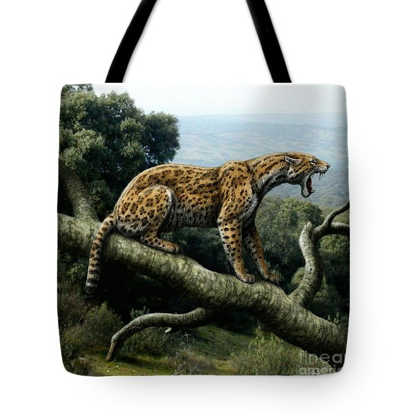 Promegantereon Sabretooth Cat Tote Bag by Mauricio Anton