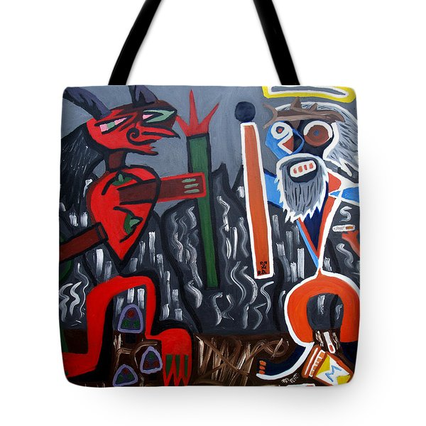 Tote Bag featuring the painting Pros Vs. Cons by Ryan Demaree