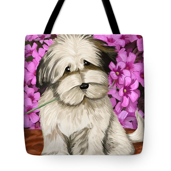 Tote Bag featuring the painting Puppy In The Flowers by Tim Gilliland