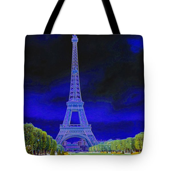 Purple Eiffel Tote Bag by Chuck Staley