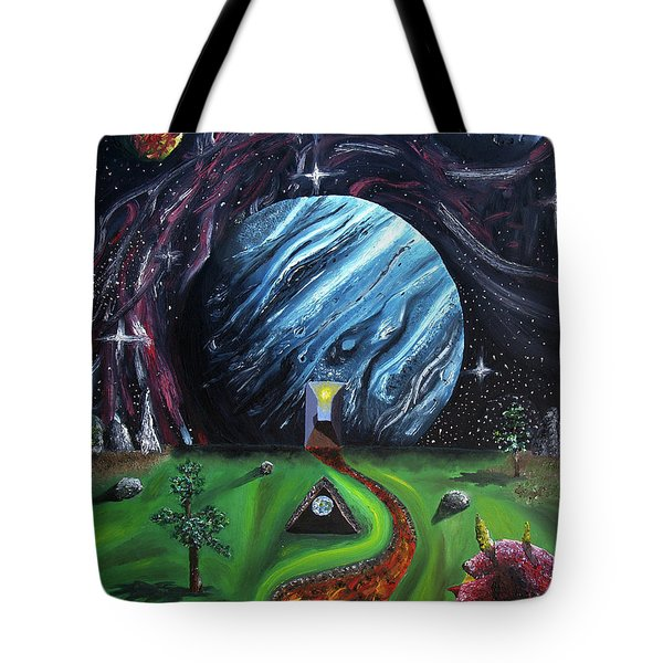 Tote Bag featuring the painting Quantum Dementia by Ryan Demaree