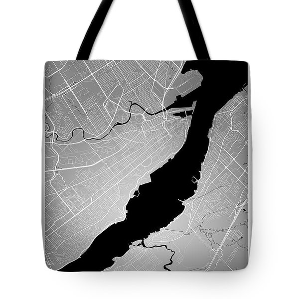 Quebec City Street Map - Quebec City Canada Road Map Art On Colo Tote Bag