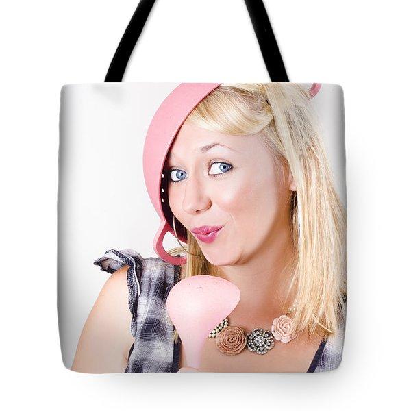 Quirky Housework Girl Singing Kitchen Karaoke Tote Bag