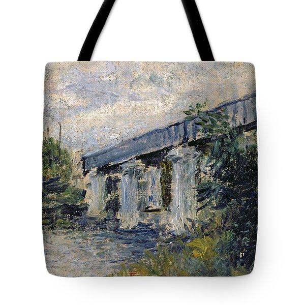 Railway Bridge At Argenteuil Tote Bag