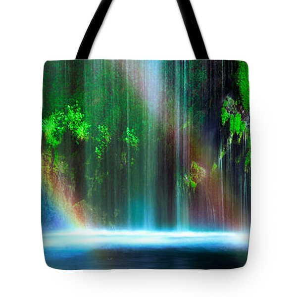 Rainbow Formed In Front Of A Waterfall Tote Bag by Panoramic Images