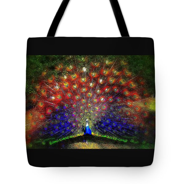 Tote Bag featuring the photograph Rainbow Peacock by Jodie Marie Anne Richardson Traugott          aka jm-ART