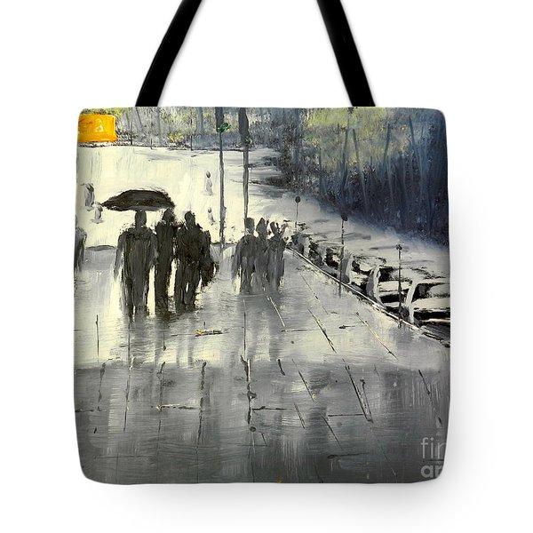 Rainy City Street Tote Bag by Pamela  Meredith