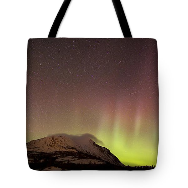 Red Aurora Borealis And Milky Way Tote Bag by Joseph Bradley