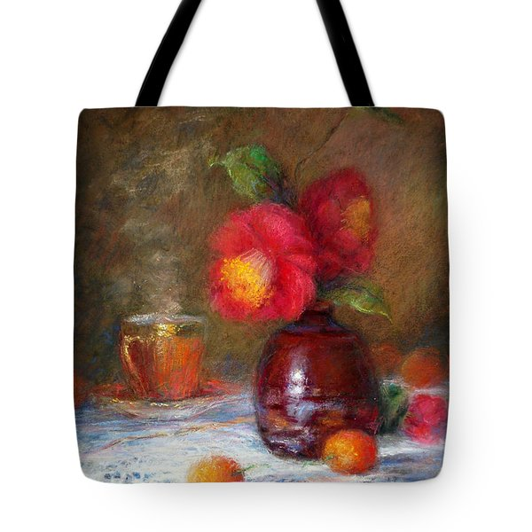 Red Flowers Tote Bag by Nancy Stutes