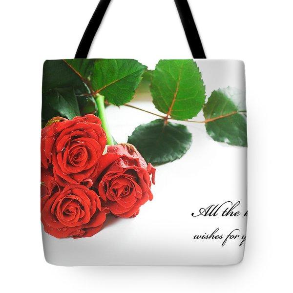 Red Fresh Roses On White Tote Bag by Michal Bednarek