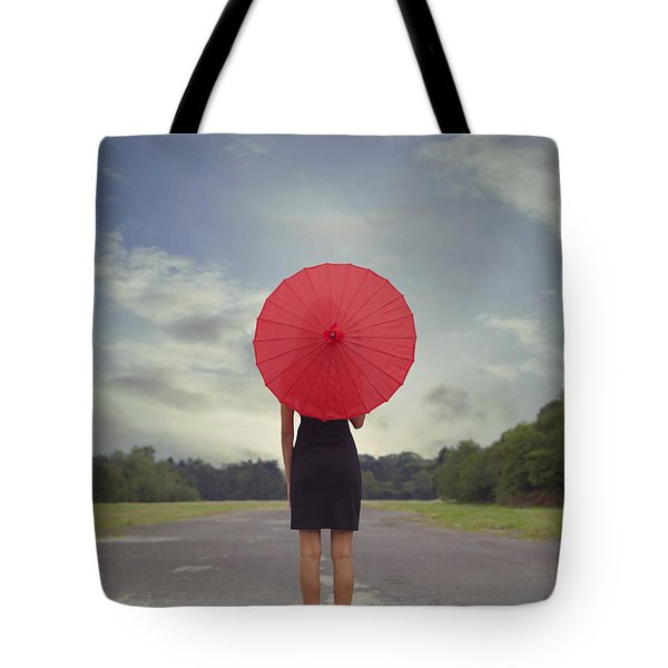 Red Parasol Tote Bag by Joana Kruse