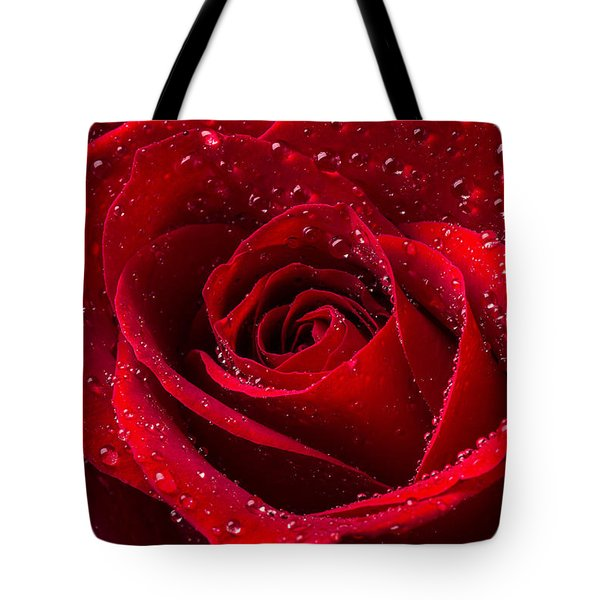 Red Rose With Dew Tote Bag