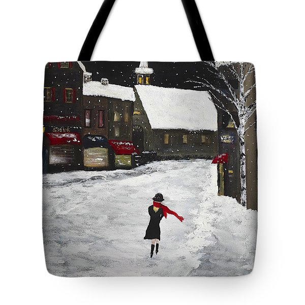Red Scarf Winter Scene Tote Bag