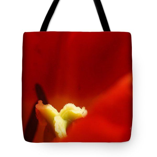 Red Tulip Calyx 3 Tote Bag by Rudi Prott