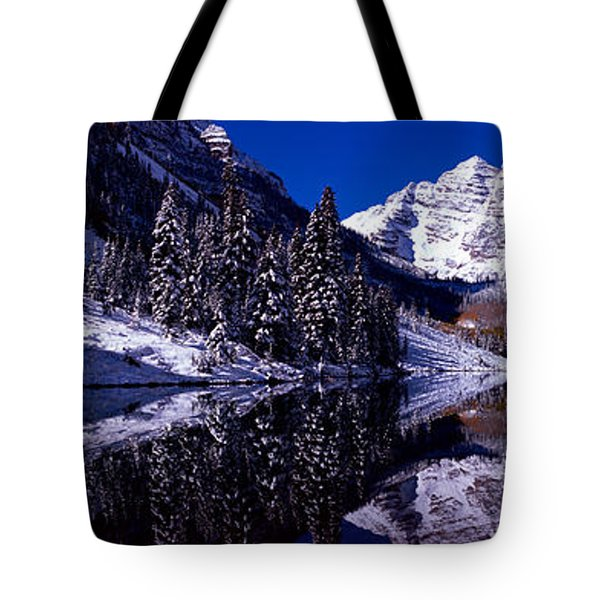 Reflection Of Snowy Mountains Tote Bag