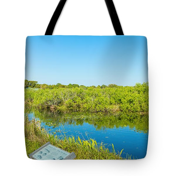 Reflection Of Trees In A Lake, Anhinga Tote Bag