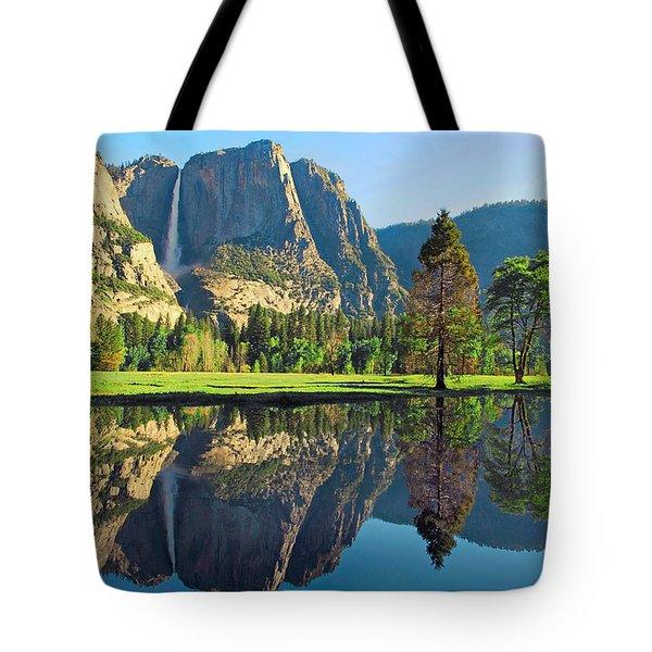 Reflections Of Yosemite Falls Tote Bag by Lynn Bauer