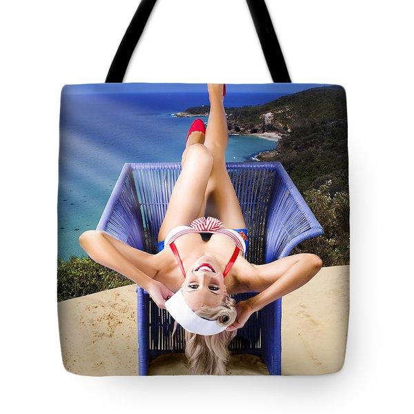 Retro Girl On Travel Trip To Down Under Australia Tote Bag