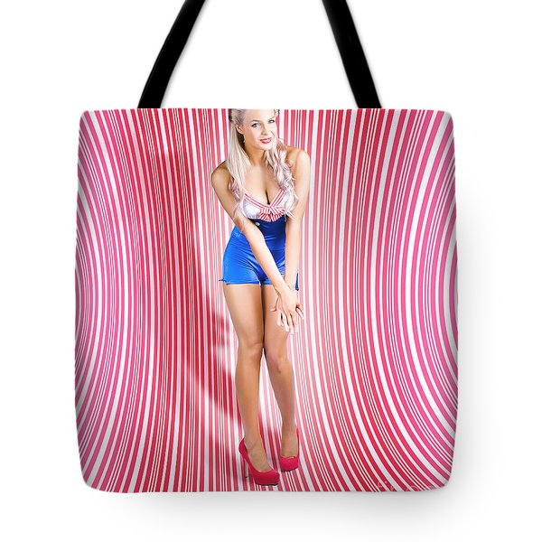 Retro Pinup Beauty On Psychedelic Background Tote Bag