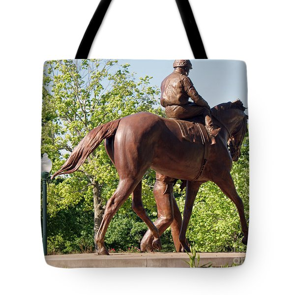 Rider In Bronze Tote Bag by Roger Potts