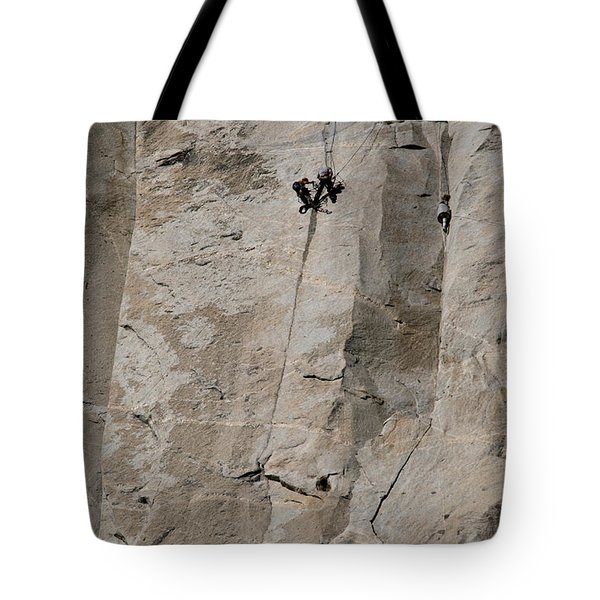 Rock Climber On El Capitan Tote Bag by Mark Newman