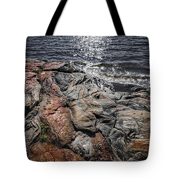 Rock Formations At Georgian Bay Tote Bag