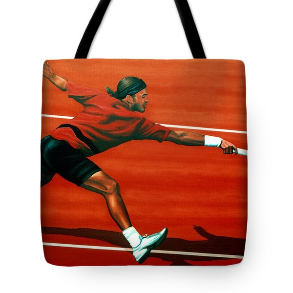 Roger Federer At Roland Garros Tote Bag by Paul Meijering