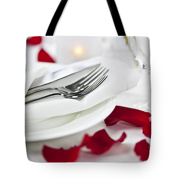 Romantic Dinner Setting With Rose Petals Tote Bag by Elena Elisseeva