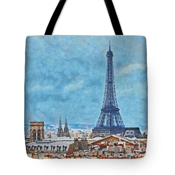 Rooftops In Paris And The Eiffel Tower Tote Bag