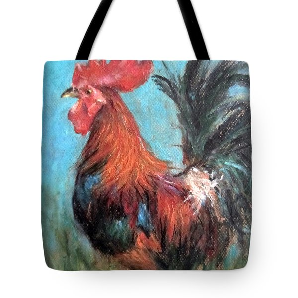 Tote Bag featuring the painting Rooster by Jieming Wang