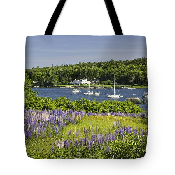Round Pond Lupine Flowers On The Coast Of Maine Tote Bag
