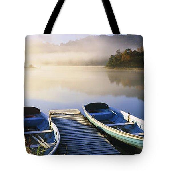 Rowboats At The Lakeside, English Lake Tote Bag