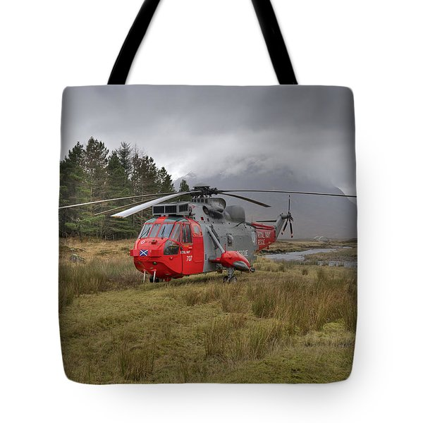 Royal Navy Sar Sea King Xz920 Glencoe Tote Bag by Gary Eason